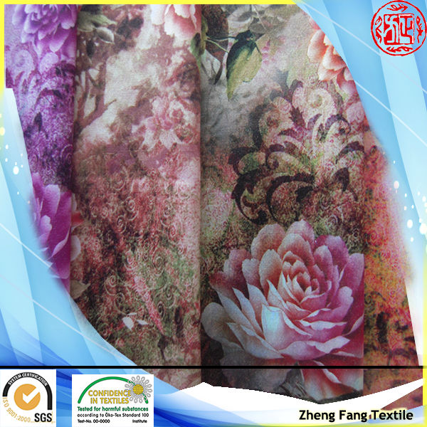New design digital printed polyester cotton satin with spandex