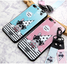 IMD Cute Cartoon Dog Silicone Cell Phone Case for iPhone 8 7 Plus , for iPhone X Case with Lanyard Animal