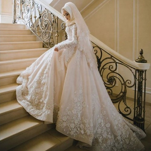 2019 Muslim Wedding Dress Bridal Gown With Hijab Dubai Wedding Gown Bridal Dress Bridal Gown Wedding Dresses
