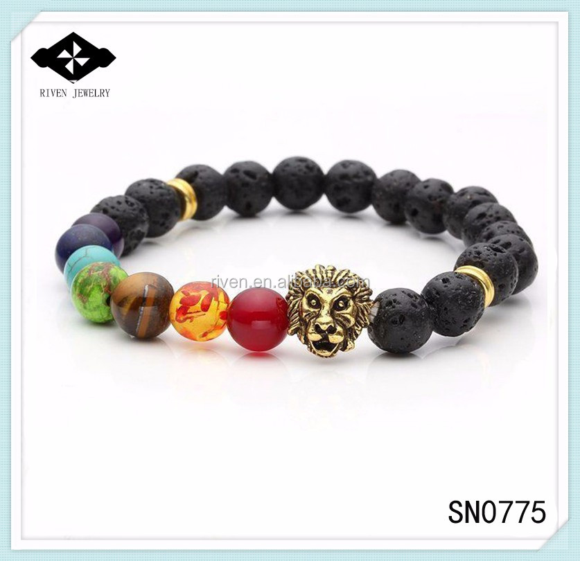 SN0775 Popular 7 chakra Beaded Mala Lion bracelet Men Lava yoga bracelets lion head man bracelet.jpg