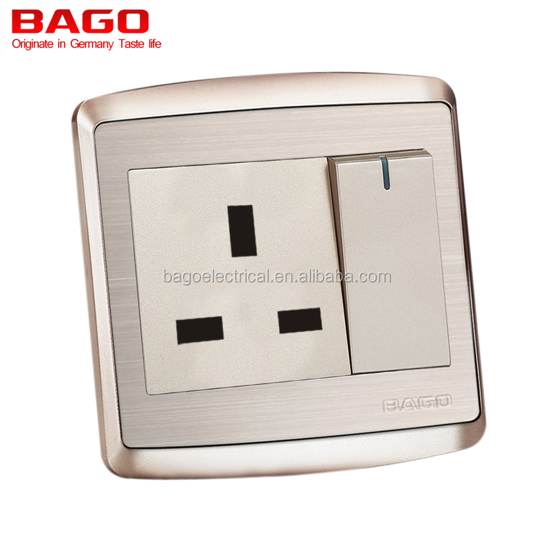 stainless steel 13Amp electric socket and switch CE certificate metal support on backside