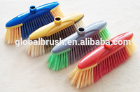HQ0153 assorted colors soft bristle plastic broom with iron handle
