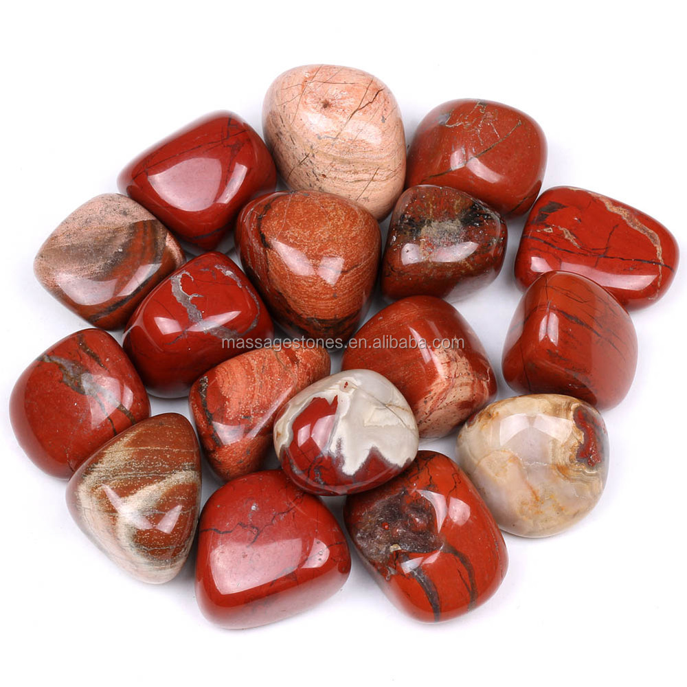 Natural polished red jasper tumbled stone for decor, healing and meditation