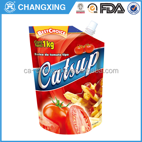 Leak proof plastic heat sealed spout pouch for ketchup 1kg