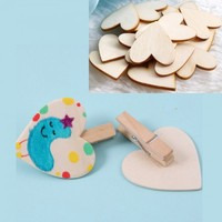 20 X Wooden Wood Pieces Hearts Cutout Craft 1.1x0.98""