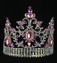 Wholesale Wedding Silver jewellery Tiara kids princess pink pageant crowns