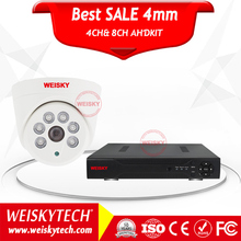 Weisky 2017 Ahd Camera Type And Waterproof/weatherproof Special Features Ahd H.264 4ch Dvr Cctv Camera Kit