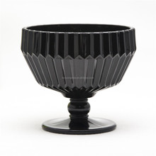 hot selling glassware with short stem folding fan shaped black jade glass material bowls for ice cream or dessert or food