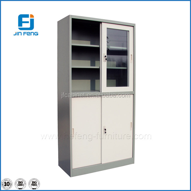 Metal Grey Color 4 Door Sliding Glass Storage Cabinet