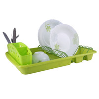 Kitchen Accessories Plate Holder with Plastic Tray Dish Rack