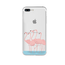 Flamingo design clear tpu phone case for iphone 7 plus, for iphone 7+ soft tpu print case cover