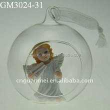 2015 blown Christmas glass hanging decoration ball with a angel inside