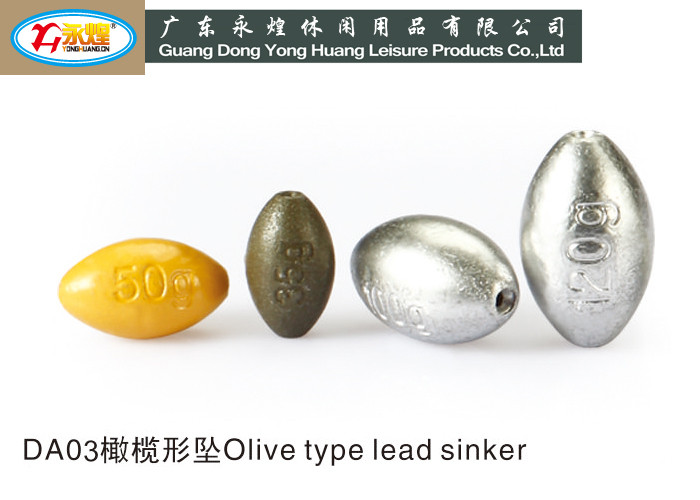 30G olive lead fishing weight yong huang die casting fishing lead sinker