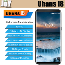 New Arrival 5.7 Inch MT6750T Octa Core 4GB RAM 64GB ROM Uhans i8 18:9 Full Screen Mobile Phone Dual Rear Camera With Face ID