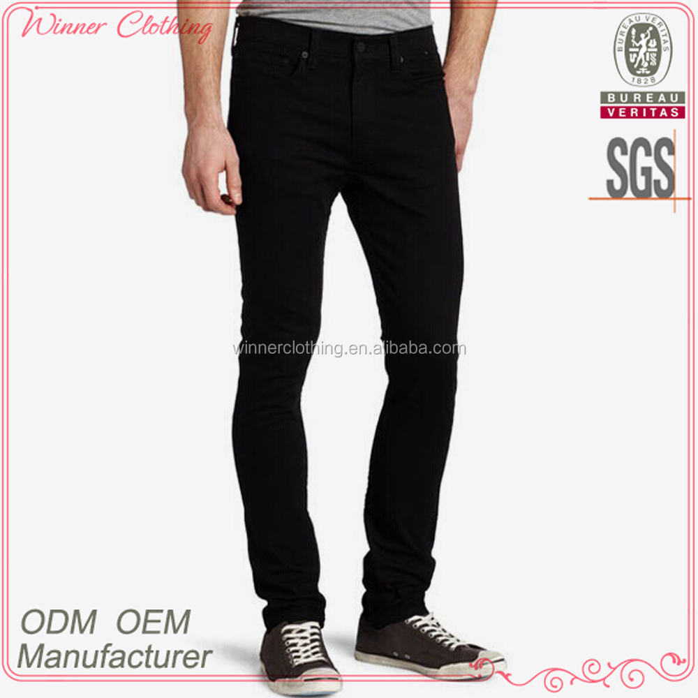 2015 factory cotton spandex blend black stretch skinny jeans for men