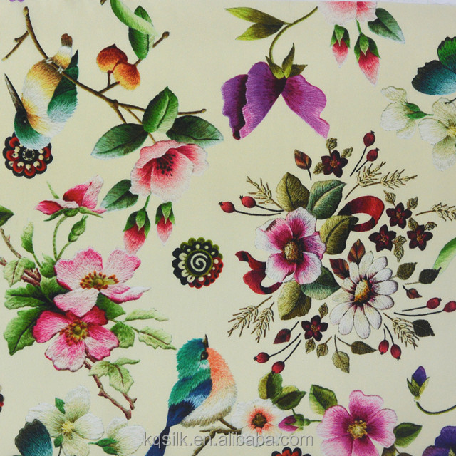 Organic stretch silk satin charmeuse fabric with embroidery-like flower birds pattern
