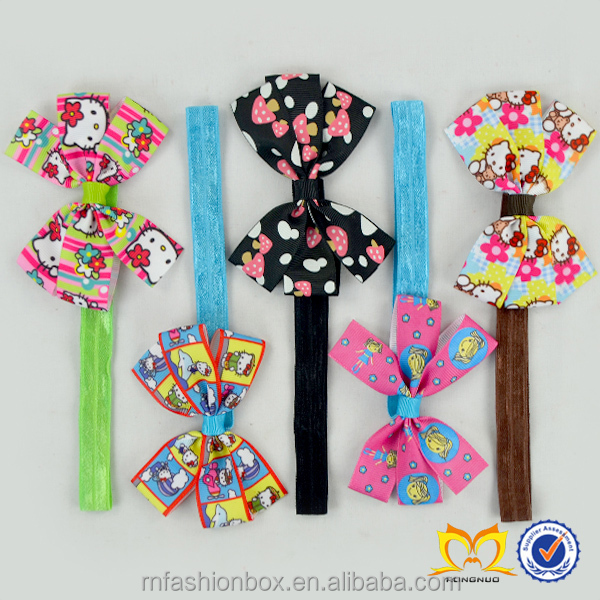 Childrens Favorite Character Hair Extensions Wholesale Baby Girls Ribbon Hair Accessories Toddlers Elastic Headbands With Bow