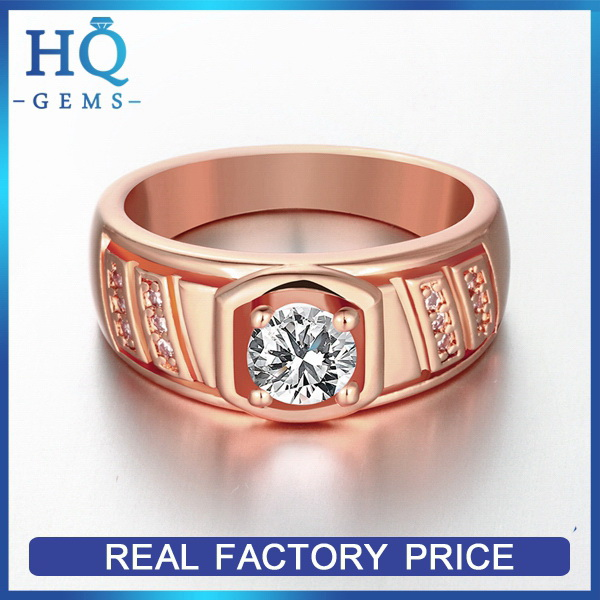 Newest best selling rose gold color plated supply gear ring
