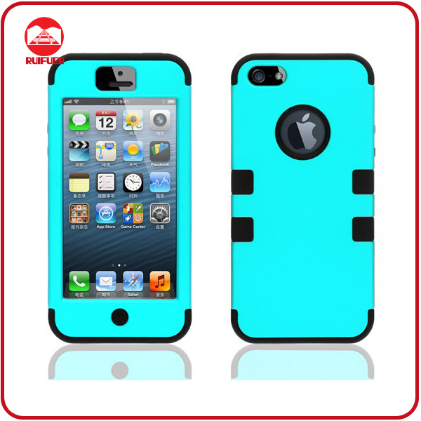 Hot Selling Protective Shockproof 3 layers Slicone Plastive Combo Cell Phone Cases for Iphone 5