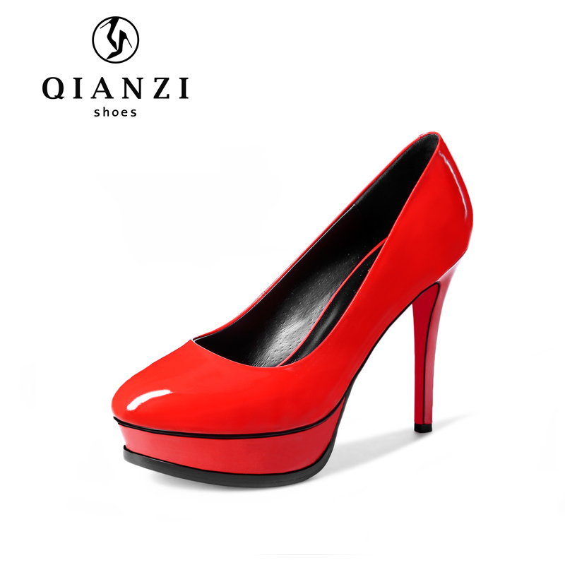 D115 Red and black 3cm platform patent shoes womens 12cm high heel shoes