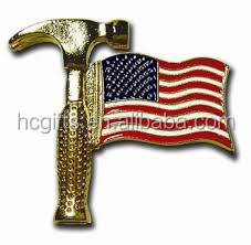 Free artwork free mold fee free shipping Hammer Flag Pin With USA Brass Clutch