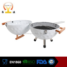 Wholesale 12 inch easily assembled portable stainless steel helmet shaped charcoal bbq grill