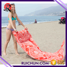 Waterproof Microfiber Beach Towel Bag With Inflatable Pillow and mesh bag