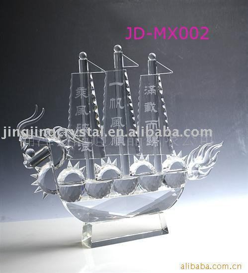Hot selling beautiful crystal ship mould for home&office&outdoor decoration