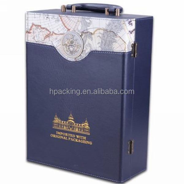 Hot sale top quality double luxury blue 2 bottle pu leather wine carrier