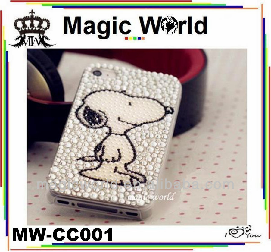 cute puppy animal style shaped jeweled cell phone cases for iphone 4 4s