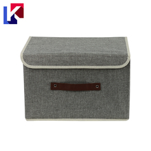 Customized collapsible Cotton fabric and cardboard fold down storage boxes with lids