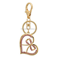 Sweet pink crystal love heart with bowknot shaped metal keychain