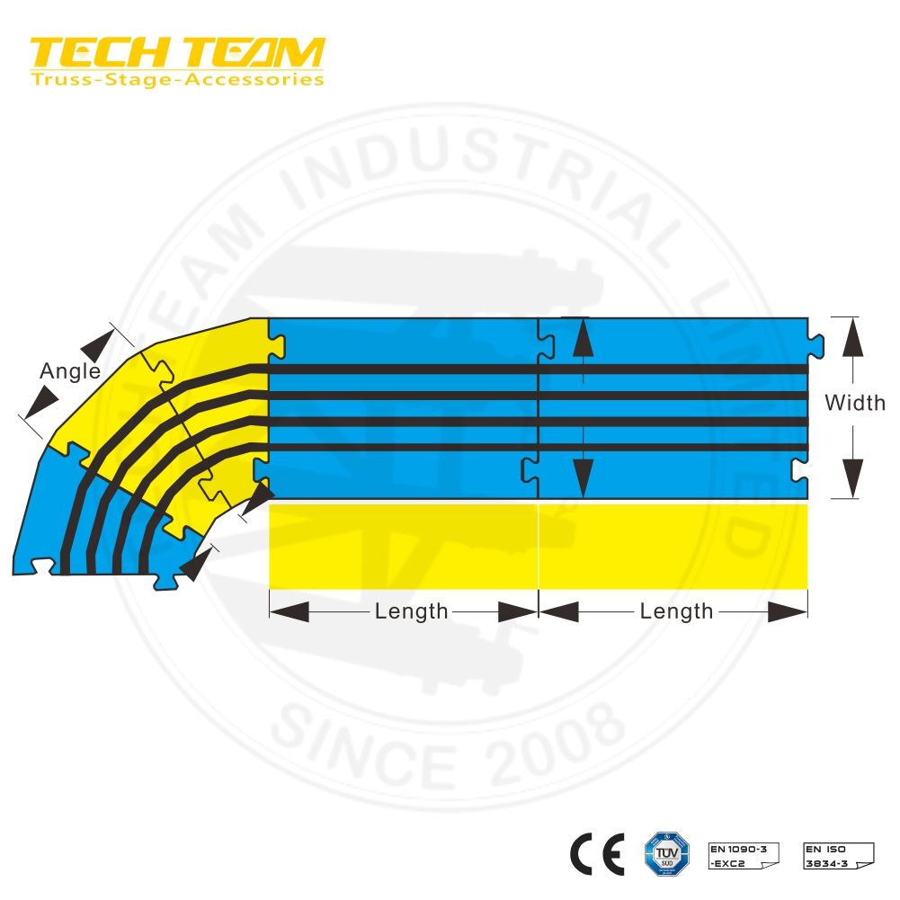 2-Channel Rubber Cable Protector Ramps Cord Cover with 5 Ton Weight Capacity