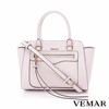 Dimensional Cut Faux Leather Pink Fashion Tassel Bag With Zip Closure