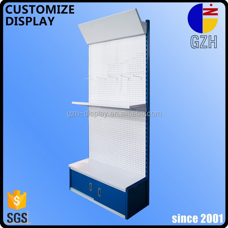 custom steel punched-plate hook standing display rack with cabinet and <strong>shelf</strong>