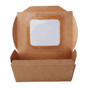 wholesale brown kraft paper fast food packaging box with window