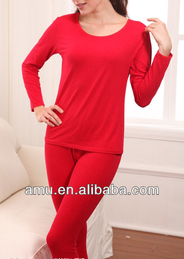 Stylish Fancy Couple thick Red organic thermal underwear