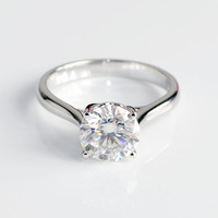 Beautiful style petal setting 8mm DEF color forever 2ct moissanite diamond solitaire ring in 14k / 18k white gold
