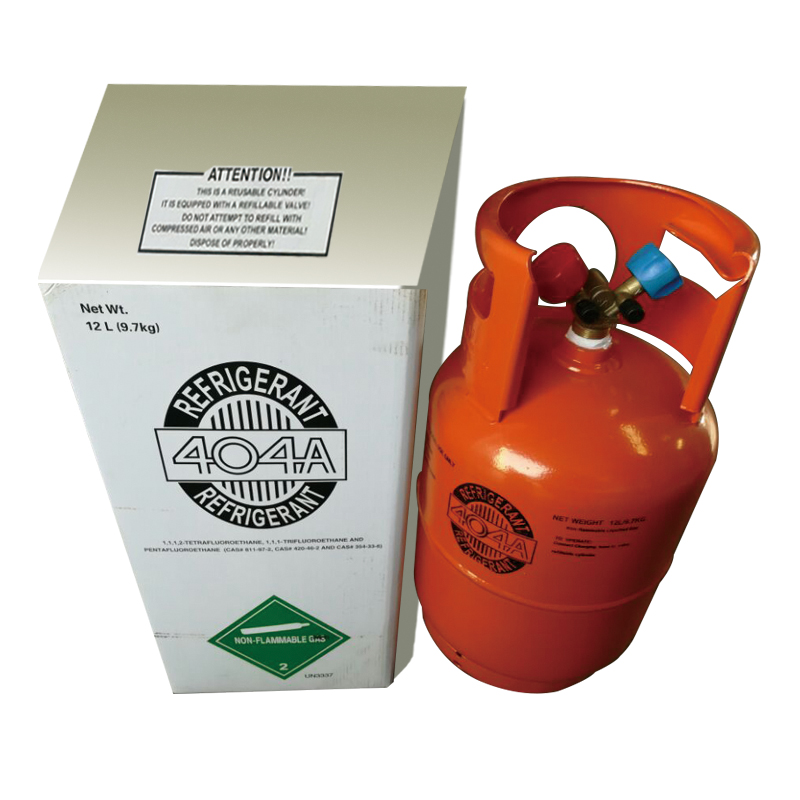 Refrigerant gas r134a, r404a, r410a in CE refillable cylinder for World market