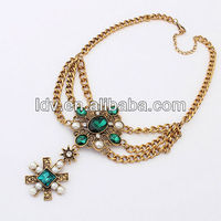 Chunky Necklace Layers Chains Pearls Studded Cross Crystal Pendant Gem Statement Necklace