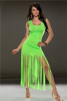 C84805A Europe and America fringed bandage dress/sexy tassel party dress
