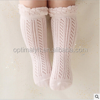 Infant & Toddler high quality crochet ruffle antiskid socks baby knee high socks
