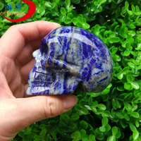 Natural Gemstone Animal Carvings Hand Carved Fine Lapis Lazuli Skull Carvings
