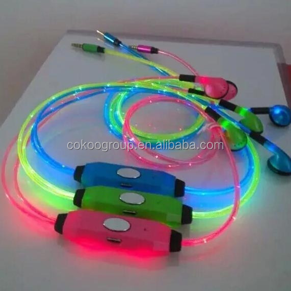 light earbuds Manufacturer Wholesale Mobile Phone LED Light Glowing Earphone in the Dark