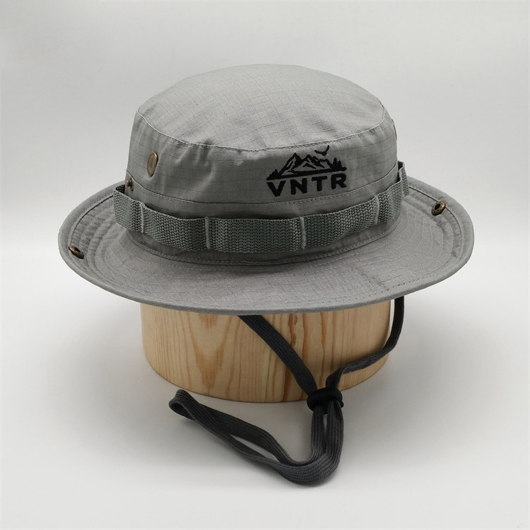 Custom Polyester Embroidery Fishing Hunting <strong>Cap</strong> Wide Brim Bucket Hat With String