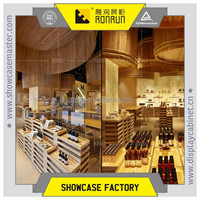 Essential oil and body care retail shop furniture with solid wood and wood veneer display counter