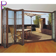 Aluminum hospital interior double sliding folding door with glass