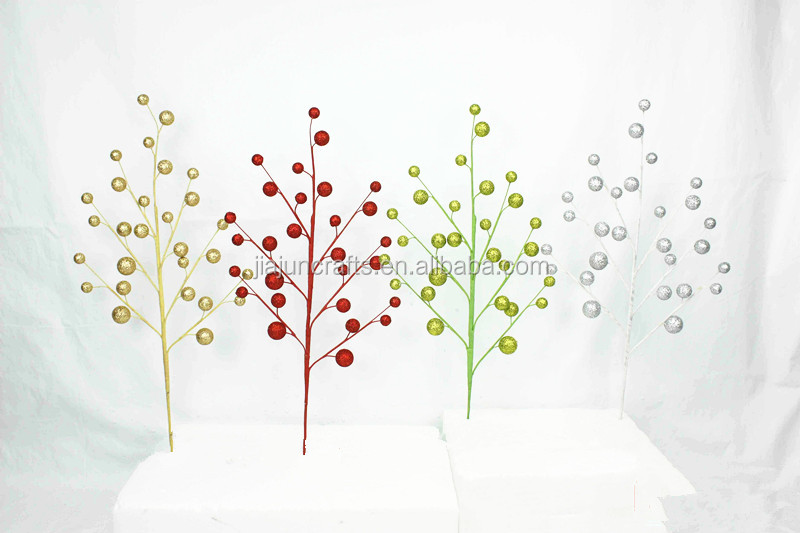15cm Artificial Christmas picks with different size polyform ball