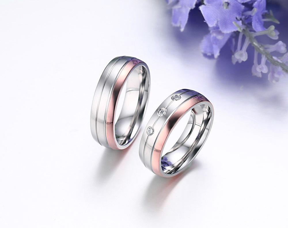 Product launches, zircon stainless steel wire drawing couples ring. South Korea version of couples jewelry wholesale YSS688