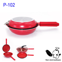 Multi function non-stick fry pan as seen on tv double sided frying pan